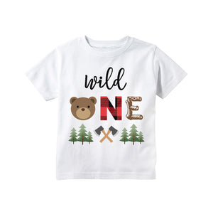 b913308af Lumberjack Wild One Bear First Birthday T-shirt Buffalo Plaid Red