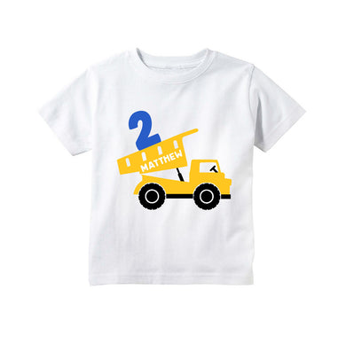 Construction Dump Truck Birthday Personalized Shirt For Toddler Boys 2nd 3rd