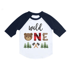 bed6bc406 Lumberjack Wild One Bear First Birthday 3/4 Sleeve Raglan Shirt
