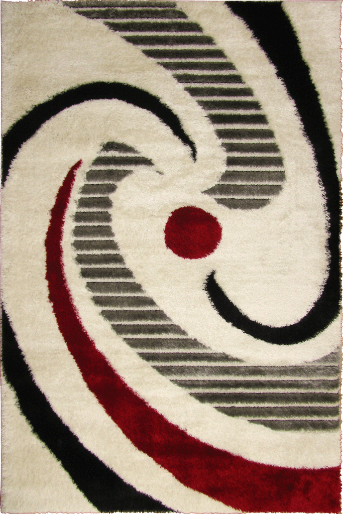 White Red Swirl Abstract Shaggy Rug - Contemporary Interior Design Style - Australia