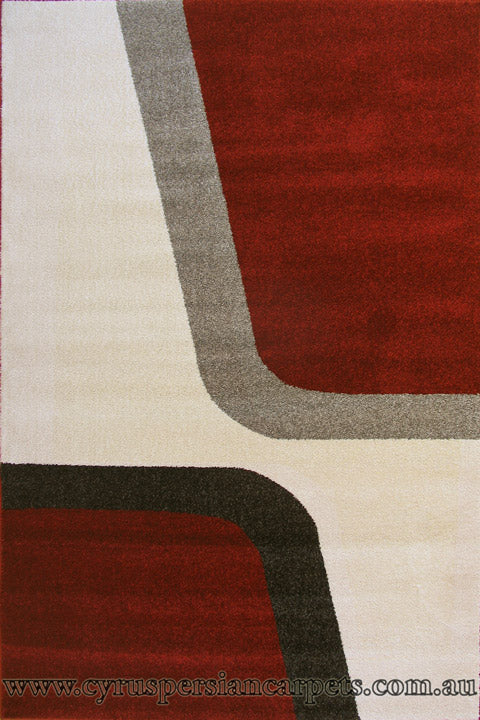 New York Modern Abstract Rug - Cream/Terra/Black