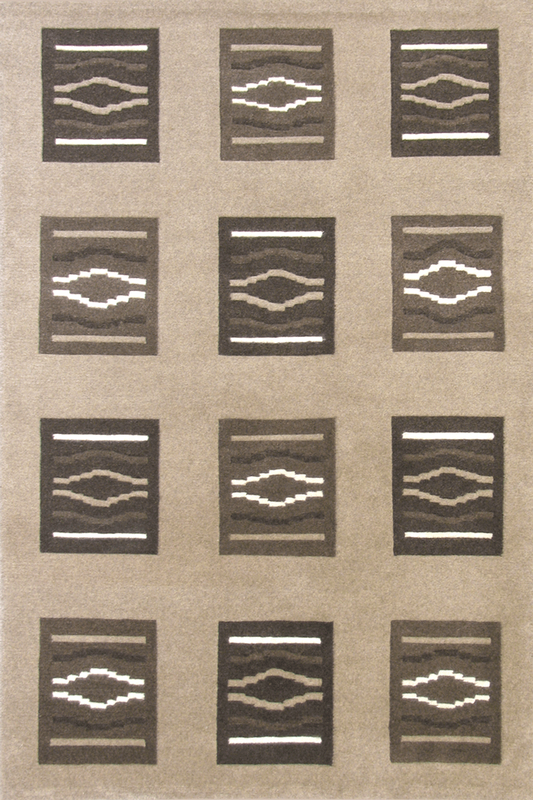 Laama Square Pattern Hand Knotted Wool Rug
