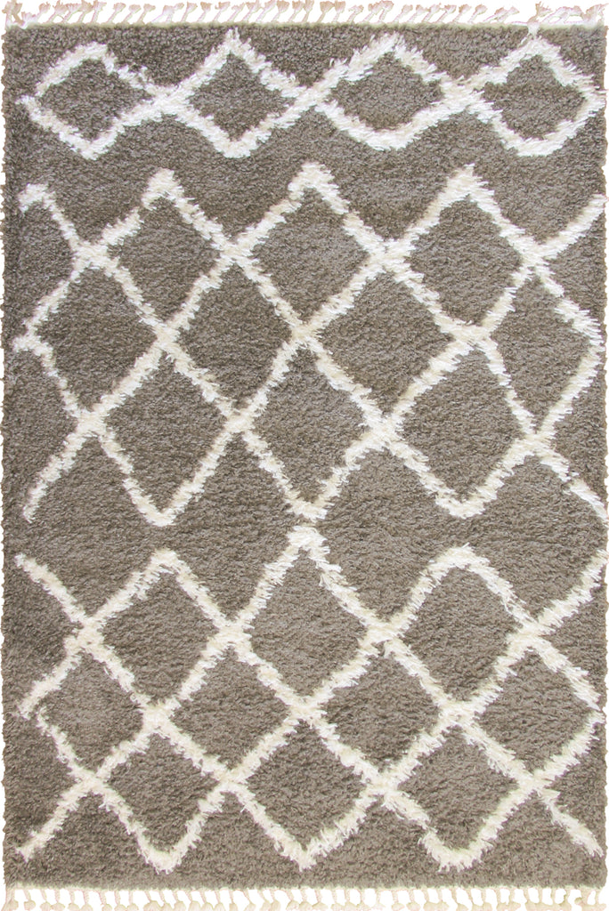 Sale - Luxor Moroccan Shaggy Rug 3616A-HRN34 - Dark Grey/Cream