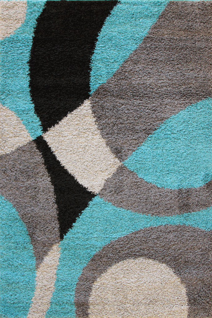Teal Shaggy Luxurious Abstract Rug for a Contemporary Modern Style - Australia