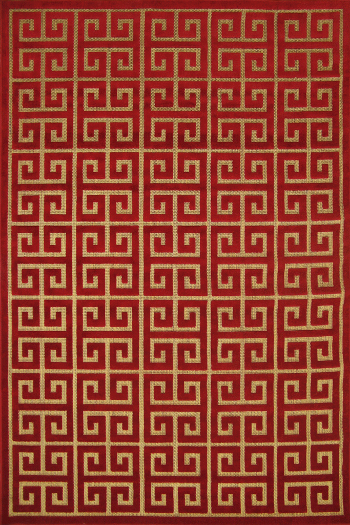 Red Greek Motif Rug - Traditional Contemporary Interior Design Style - Australia