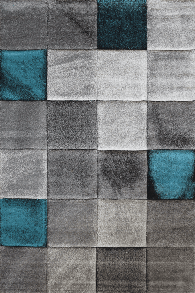 Love Modern Square Abstract Rugs - Blue Sapphire