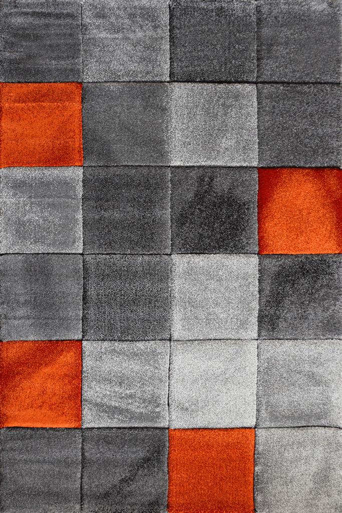 Love Modern Square Abstract Rugs - Orange Topaz