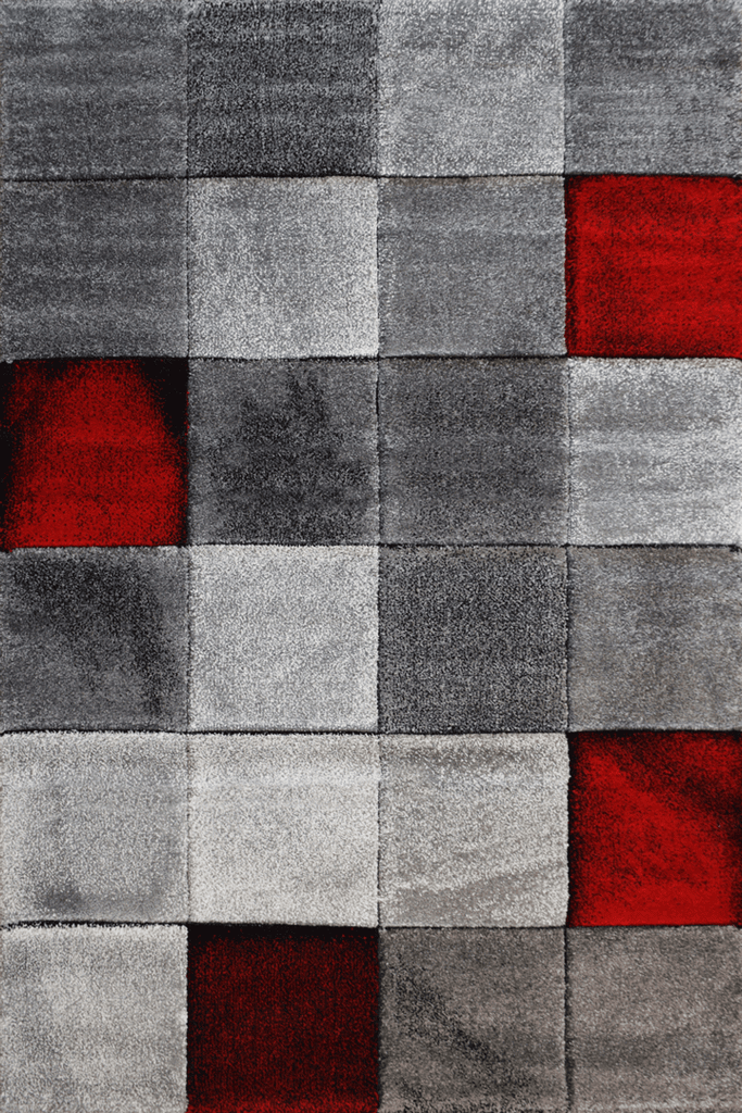 Love Modern Square Abstract Rugs - Red Ruby