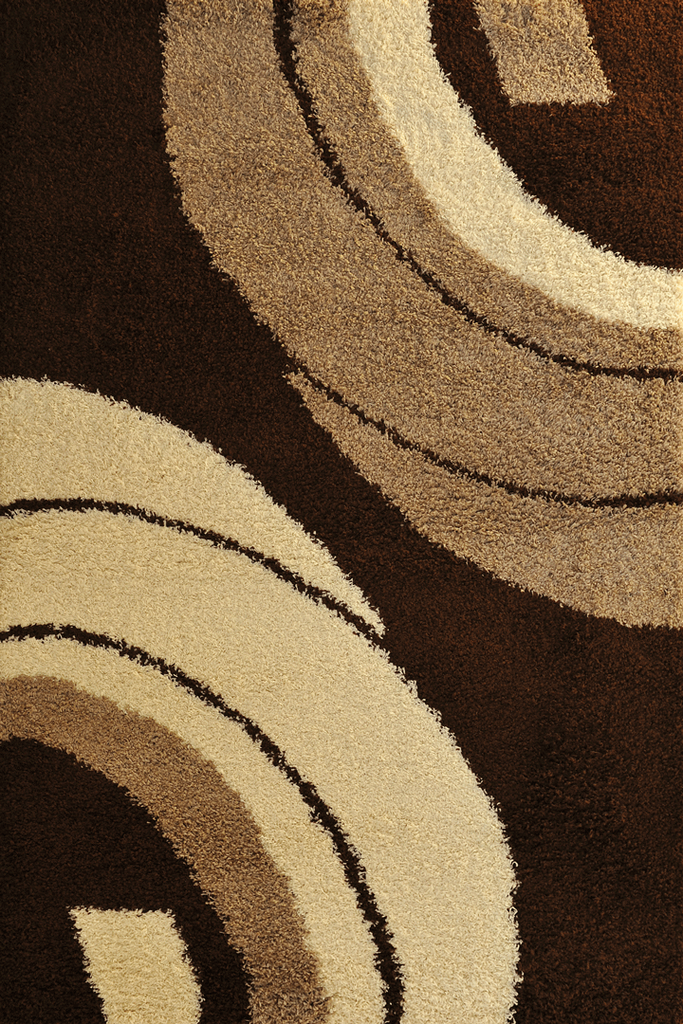 Brown Abstract Shaggy Rugs - Modern Interior Design Style - Australia