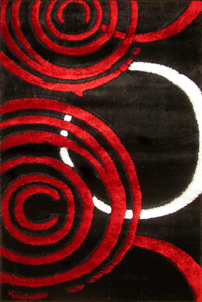 Red Black Circles Abstract Shaggy Luxurious Rug - Contemporary Interior Design Style - Australia