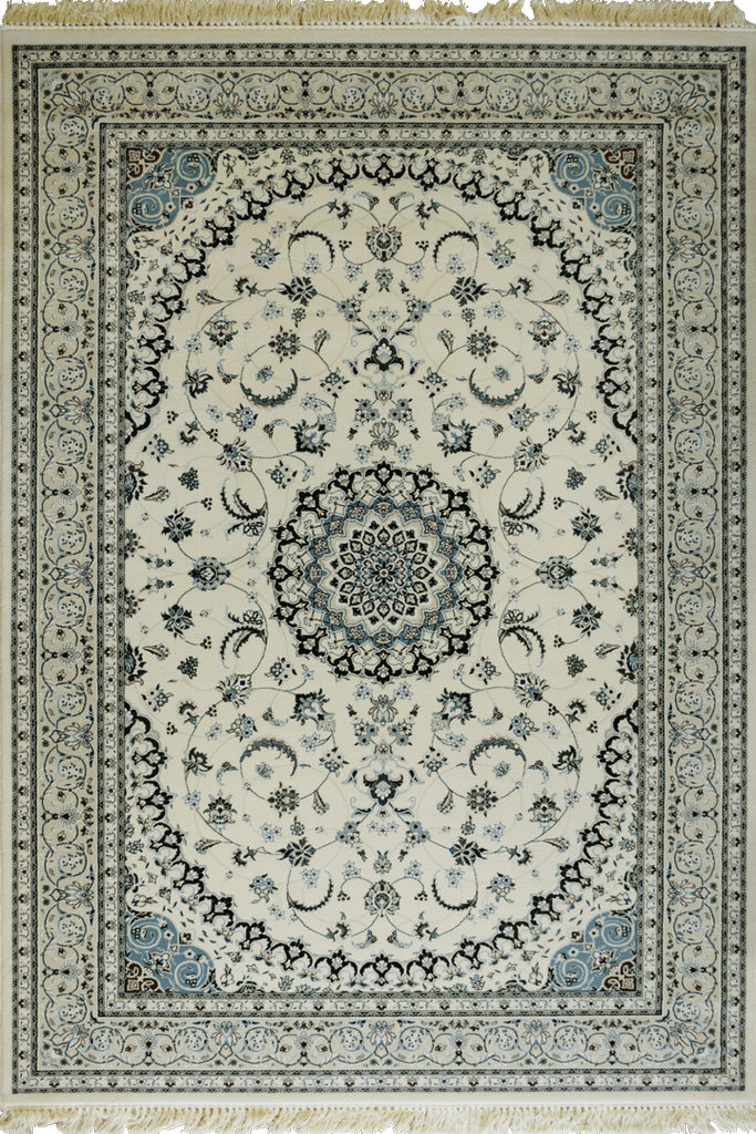 White Ivory Light Blue Floral Medallion wool rugs - Traditional Contemporary Interior Design Style - Australia