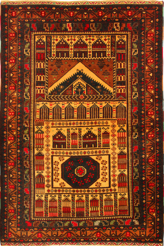 Baluch Hand Knotted  Wool Rug 140x90