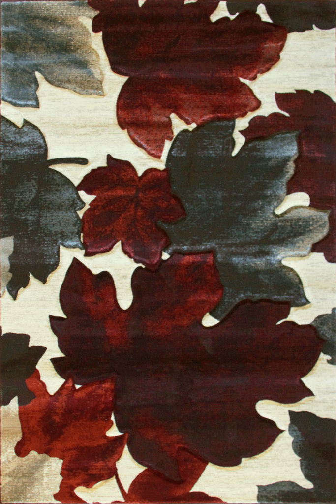 Pisa Contemporary Floral Leaves Rug - Burgundy