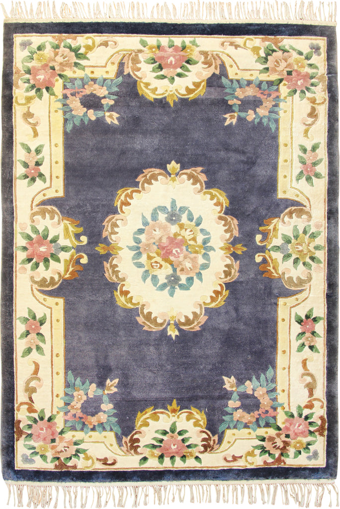 Chinese Art Floral Hand Knotted Silky Rug 183X122cm