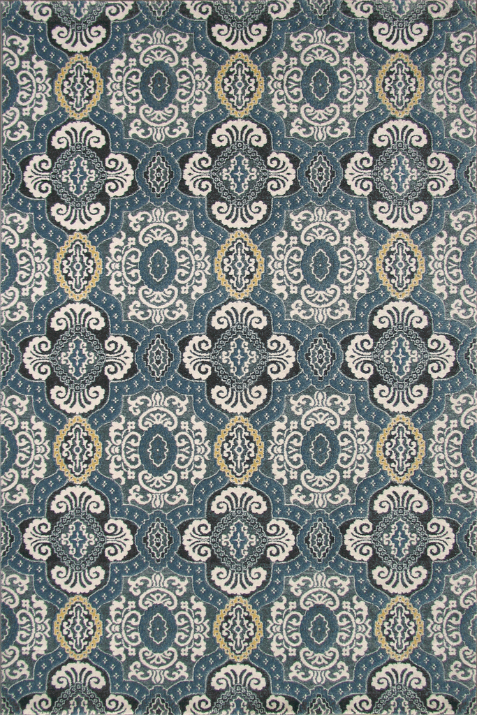 Rizzy Contemporary Floral Rug - D.Grey&Blue