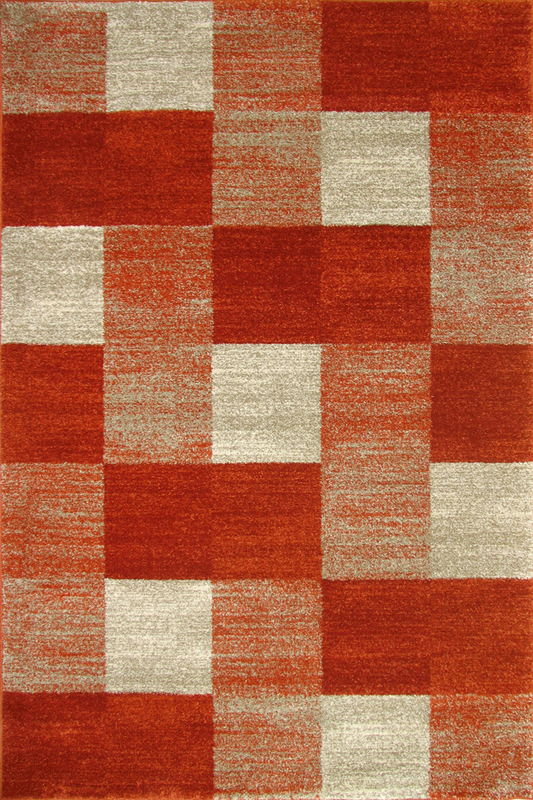 Terra Red Squared Pattern rugs -  Sophisticated Soft Pile - Contemporary Classic Interior Design Style - Australia