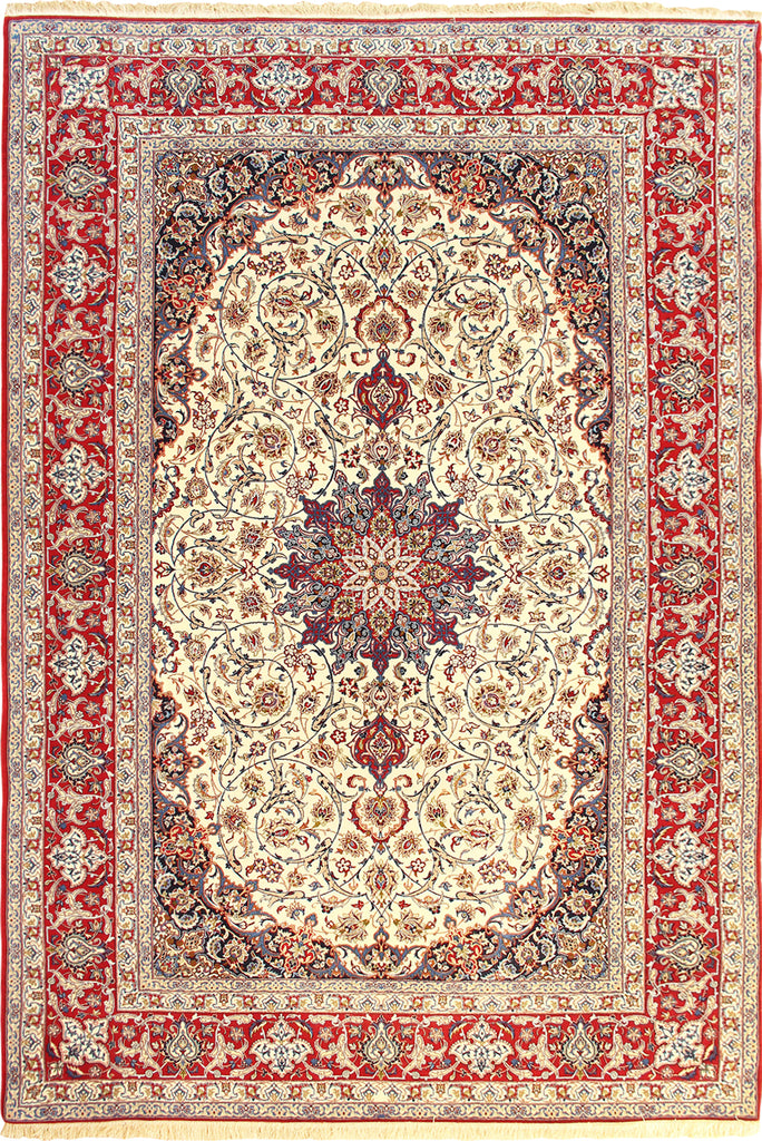 Isfahan Medallion Hand Knotted Wool & Silk Rug - 322x202 cm