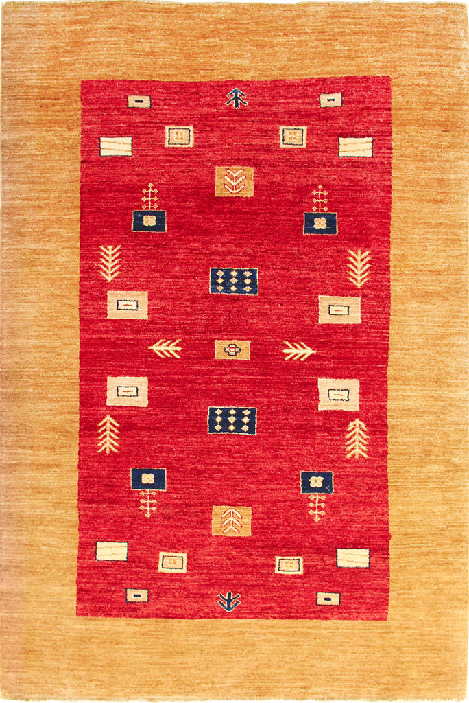 Gabbeh Hand Knotted Wool Rug 212x144cm