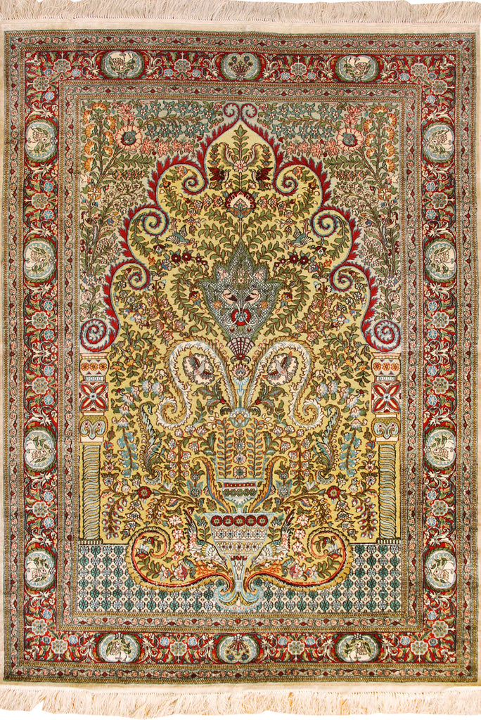 Hereke Medallion Hand Knotted Gold & Silk Rug - 184x124