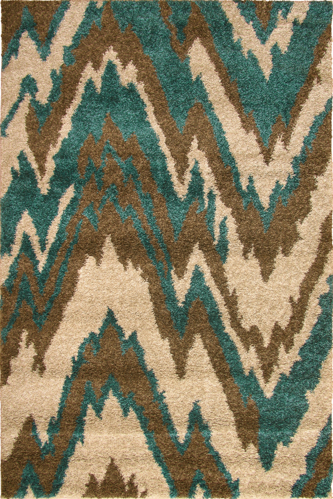 Blue Beige Multicolour Shaggy Luxurious Rug - Abstract Contemporary Interior Design Style - Australia