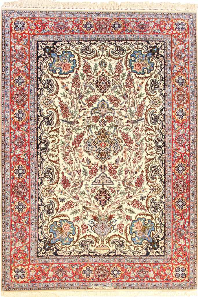 Isfahan Medallion Hand Knotted Wool & Silk Rug - 240x153 cms