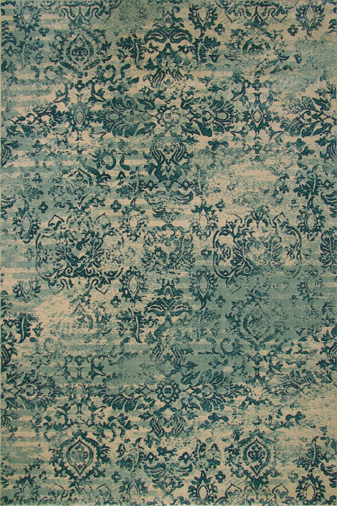 Rizzy Contemporary Floral Rug - Cotton Turquoise