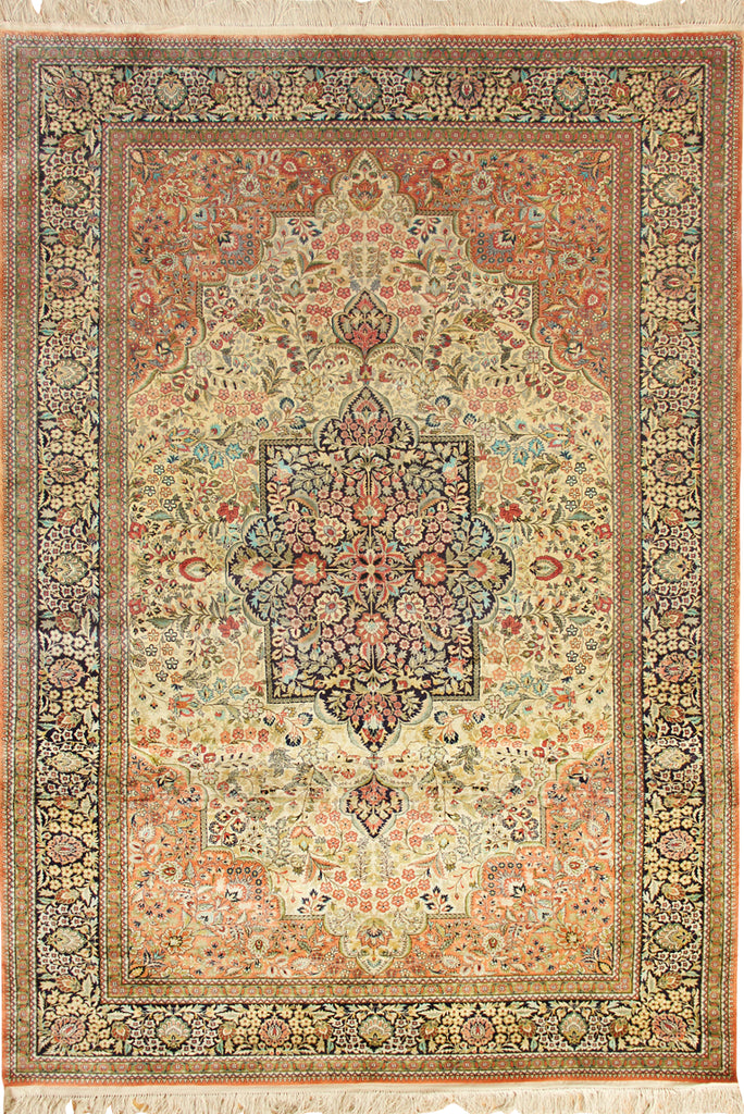 Kum Hand Knotted Medallion Silk Rug - 246x147