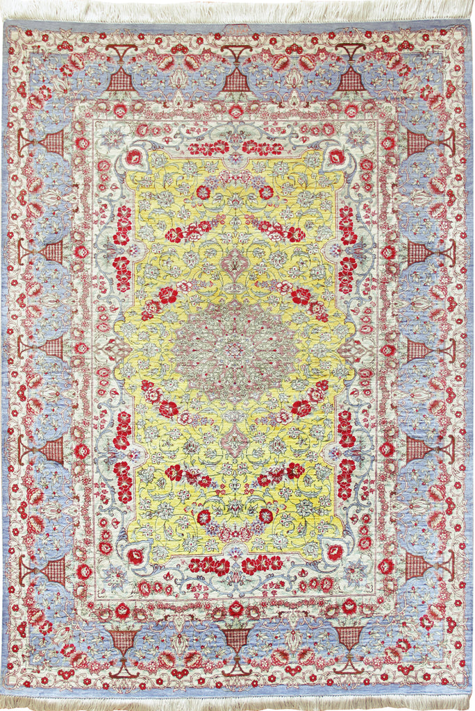 Kum Hand Knotted Medallion Silk Rug - 146x100
