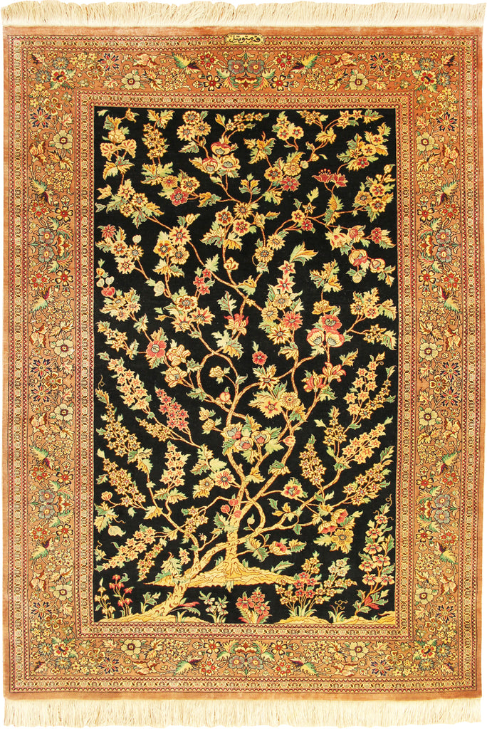 Kum Signed Tree of Life Hand Knotted Silk Rug - 150x100