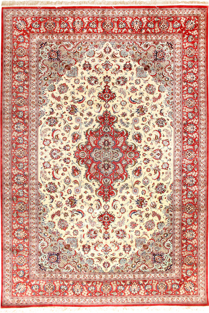 Kum Signed Medallion Hand Knotted Silk Rug 348x254