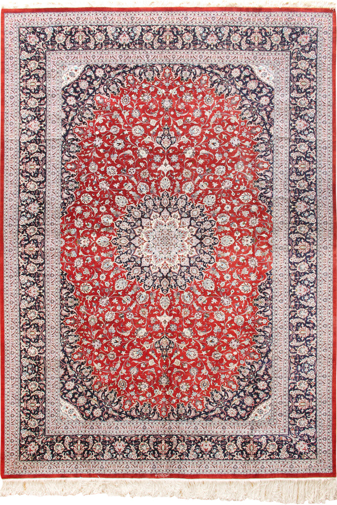 Kum Signed Medallion Hand Knotted Silk Rug 350x250