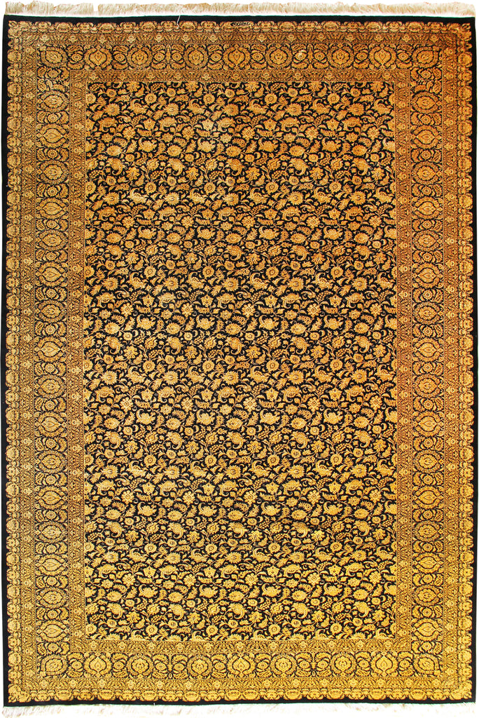 Kum Signed Medallion Hand Knotted Silk Rug 358x248