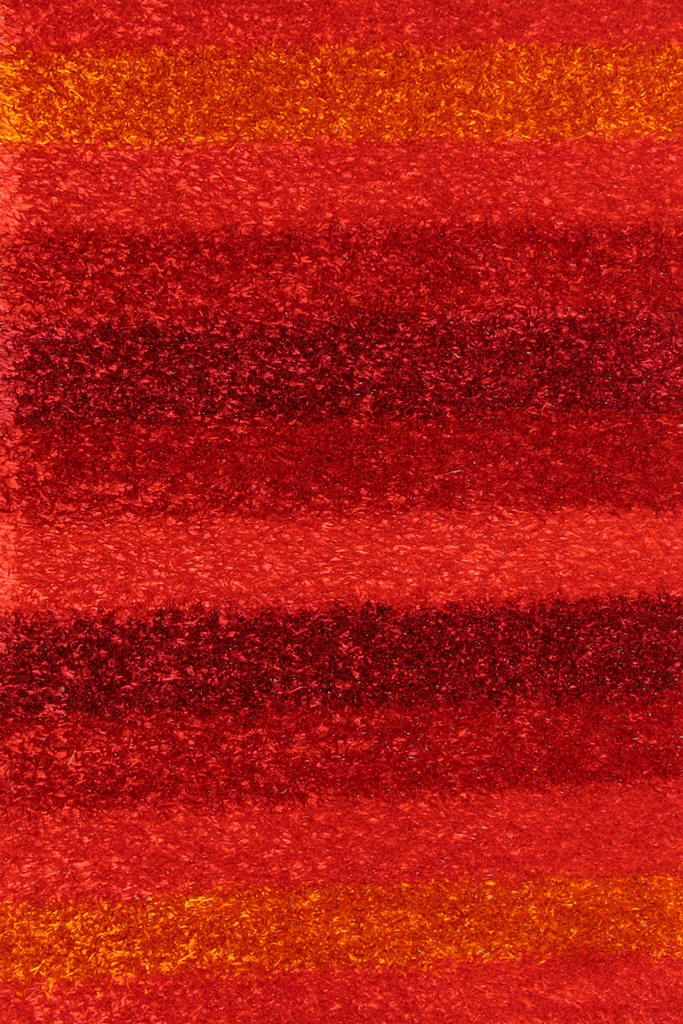 Red Stripe Shaggy Rug - Modern Interior Design Style - Australia