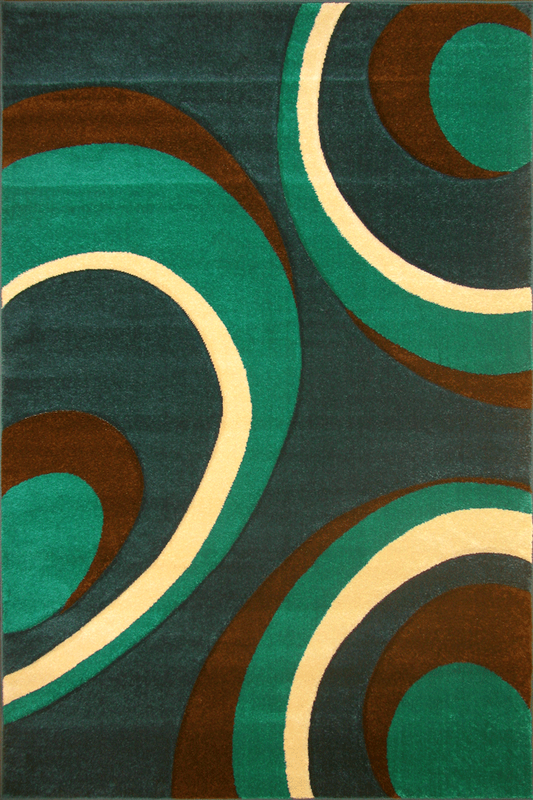 Green Circular patterned rugs - Luxurious Thick Pile - Modern Contemporary Interior Design Style - Australia
