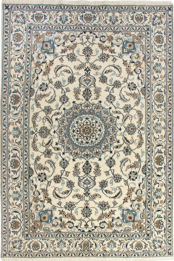Nain Medallion Hand Knotted Wool & Silk Rug 282x192