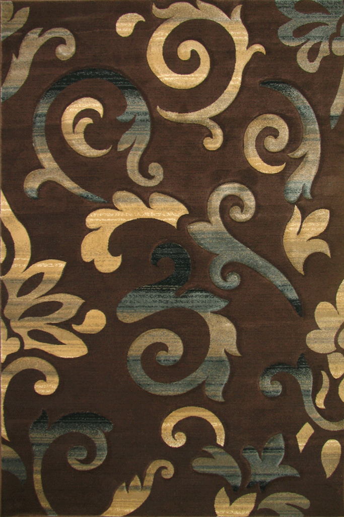 Pisa Contemporary Floral Rug - Dark Brown
