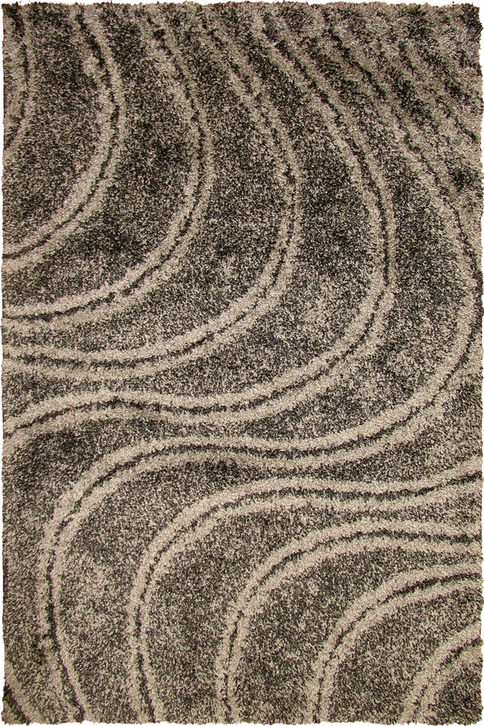 Grey Spiral Wavy Shaggy Luxurious Soft Pile Rug - Modern Interior Design Style - Australia