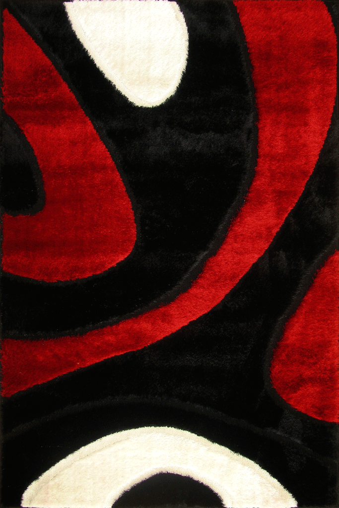Red White Black Abstract Shaggy Luxurious Rug - Contemporary Interior Design Style - Australia