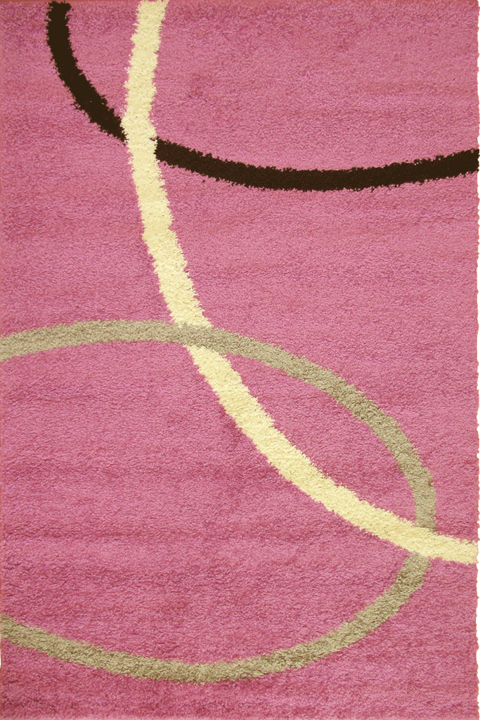 Pink Swirl Patterned Shaggy Rug - Modern Interior Design Style - Australia