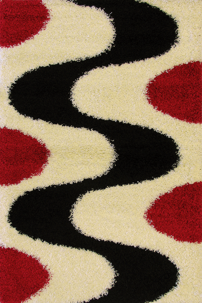 Red Black Abstract Shaggy Rugs - Modern Interior Design Style  - Australia