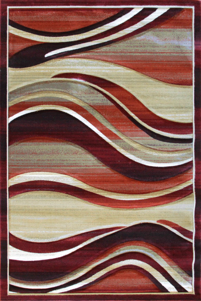 Pisa Contemporary Wavy Rug - Red