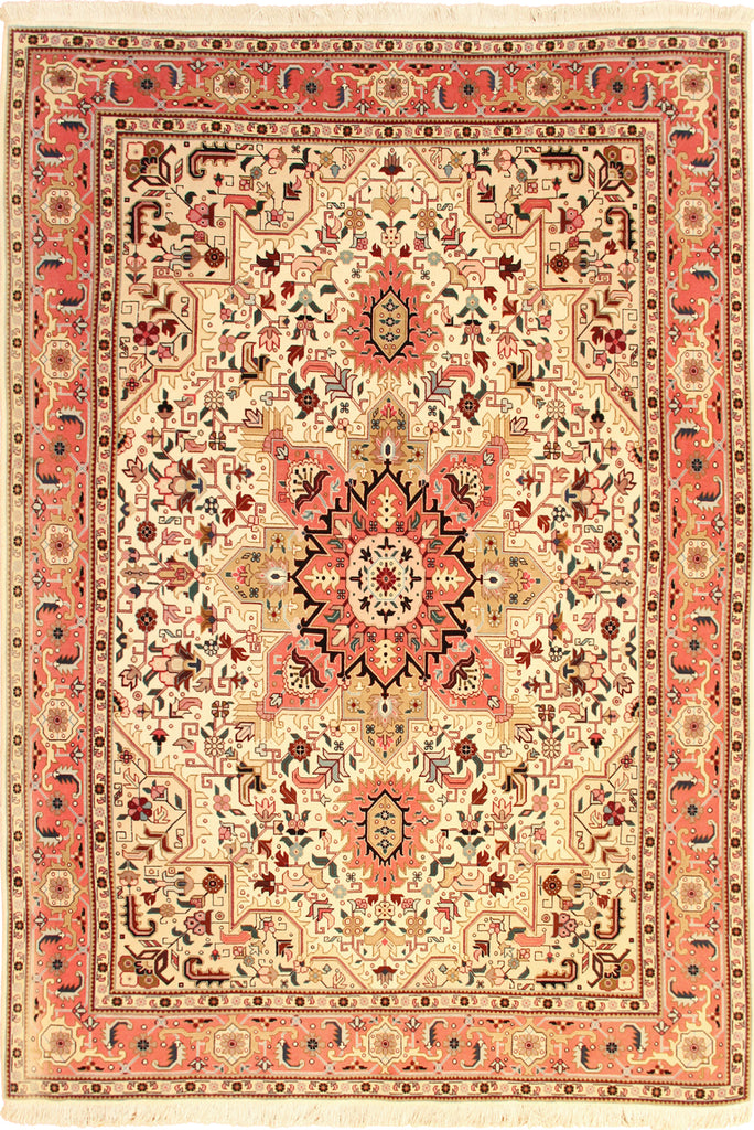 Tabriz Medallion Hand Knotted Wool Rug 200x159 cm