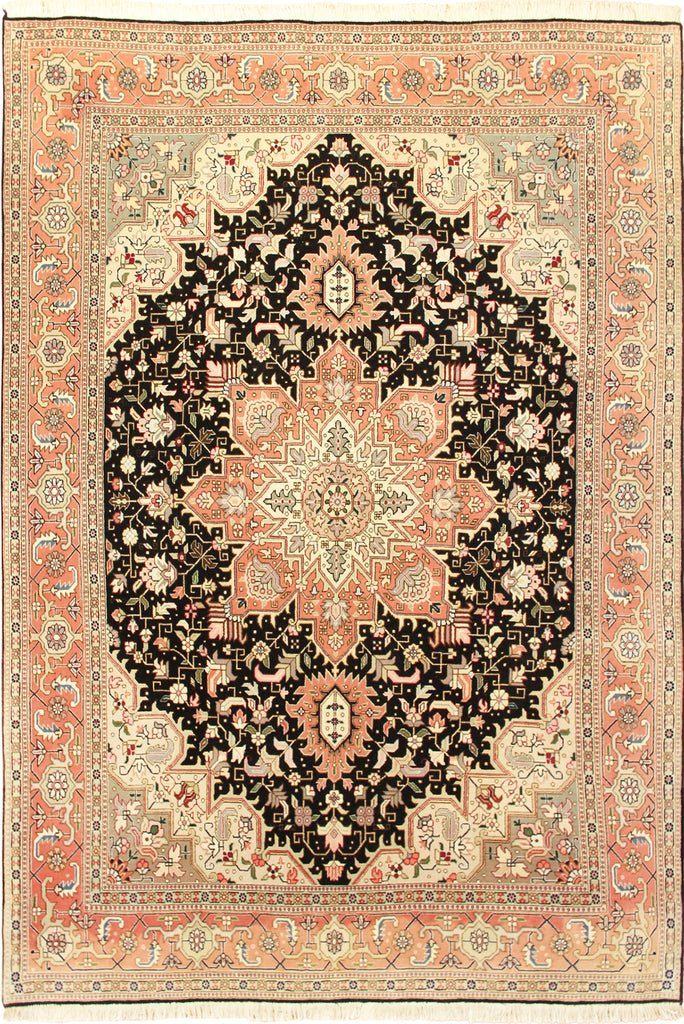 Tabriz Medallion Hand Knotted Wool Rug 208x153cm