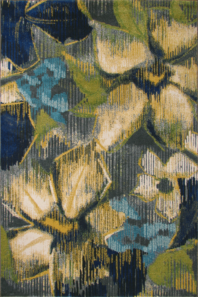Rizzy Contemporary Floral Rug - Grey&Blue