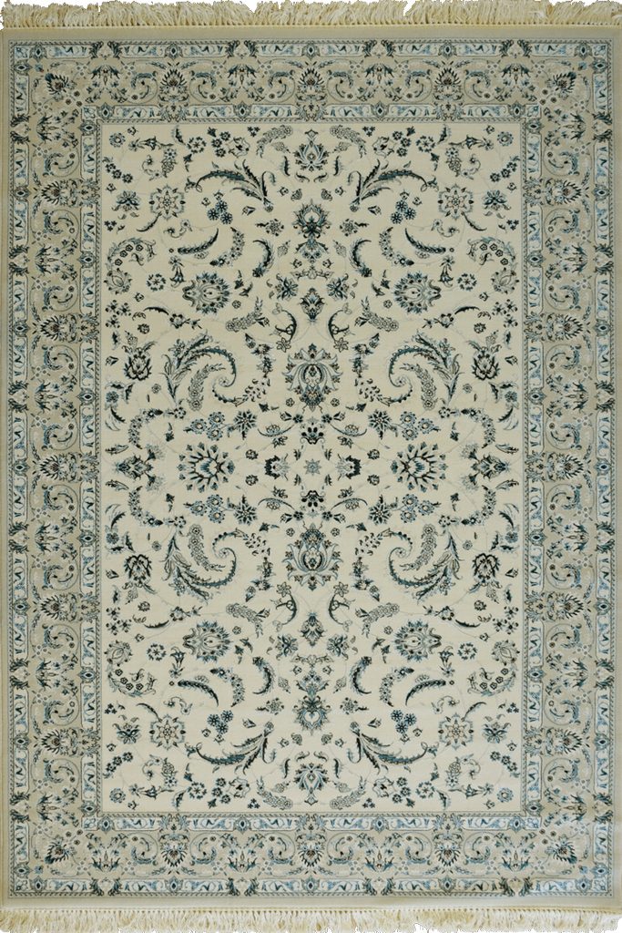White Ivory Light Blue Floral wool rugs - Traditional Contemporary Interior Design Style - Australia