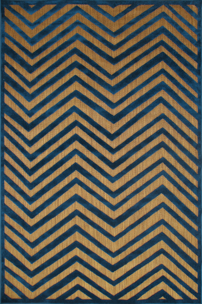 Tan Blue Chevron Rug-Coastal Rustic Interior Design Style - Australia