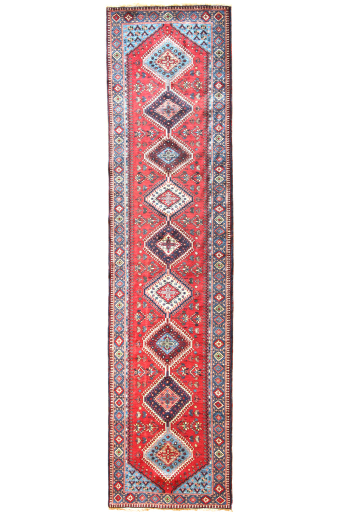 Yalameh Geometric Hand Knotted Wool Runner 360x94cm