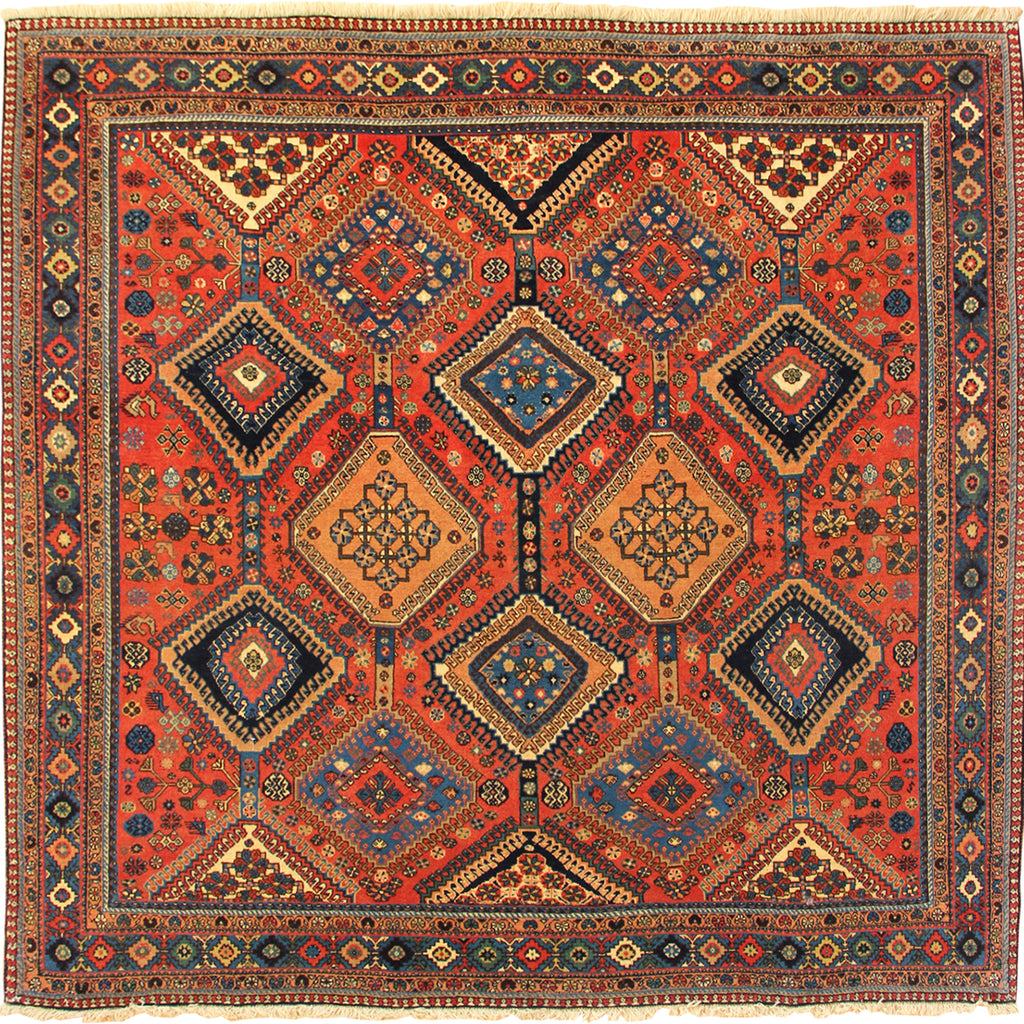 Yalameh Geometric Hand Knotted Wool Rug 210x210cm