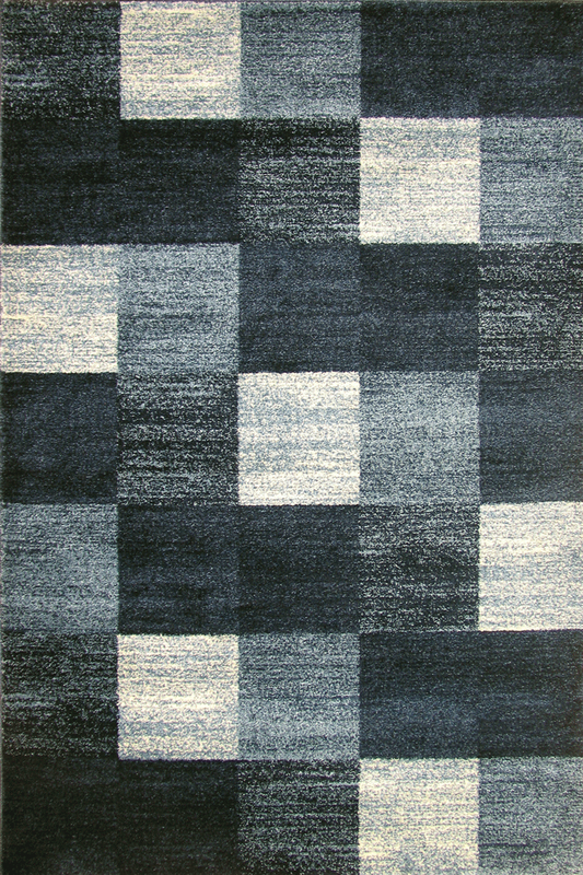 Dark Blue Navy Squared Pattern rugs -  Sophisticated Soft Pile - Contemporary Classic Interior Design Style - Australia