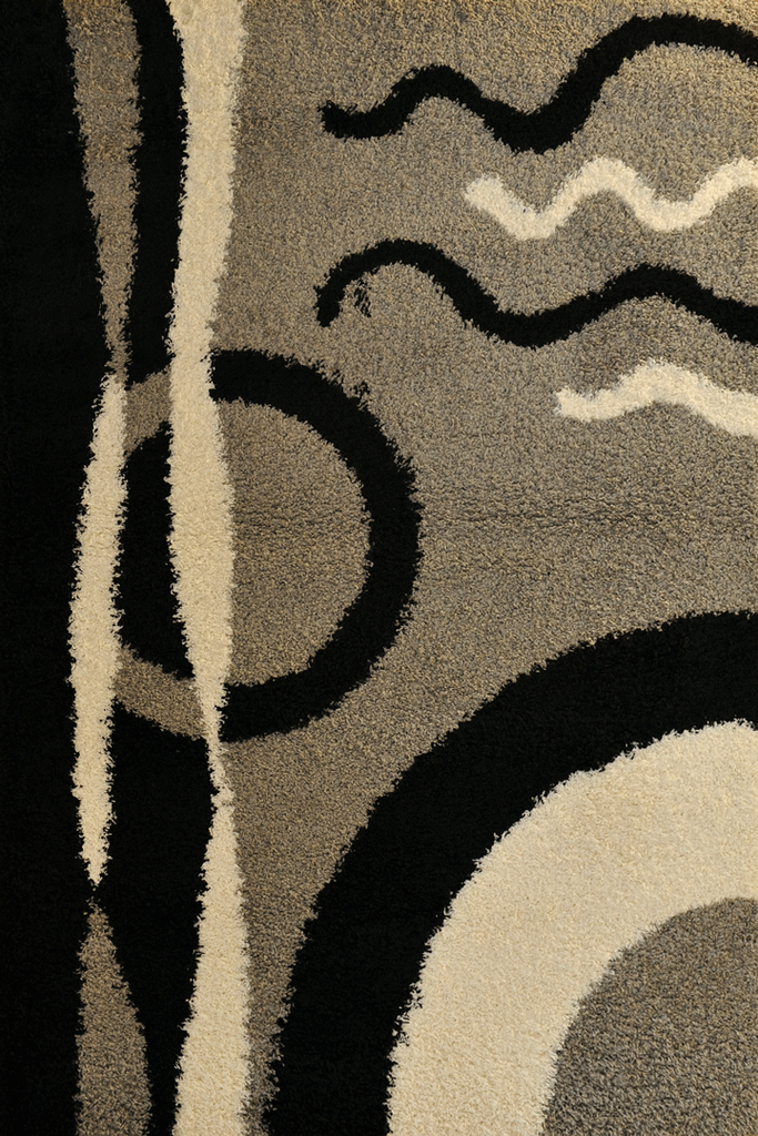 Grey Abstract Shaggy Rugs - Modern Interior Design Style